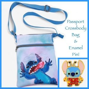 LOUNGEFLY DISNEY Stitch PASSPORT CROSSBODY BAG PIN